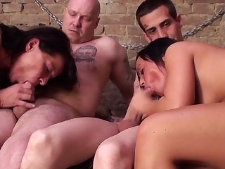 Two babes and two dicks in the closed room