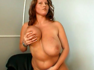 Laura Orsolya plays with her giant boobies on the cam