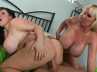 Busty babes are getting hard pounded