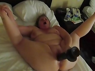 BBW Riding Big Black Dildo