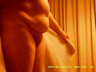 Fat bellied wife dries hairy pussy