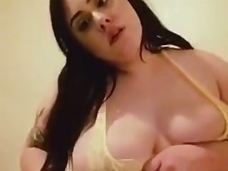 Beautiful fatty playing with her sexy rolls and big tits