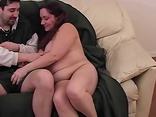 Sexy fat chick is wanking this nice dick
